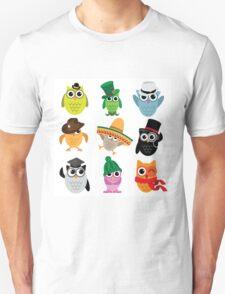 Cute cartoon owls wearing hats Unisex T-Shirt