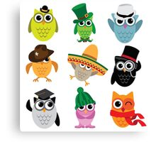 Cute cartoon owls wearing hats Canvas Print
