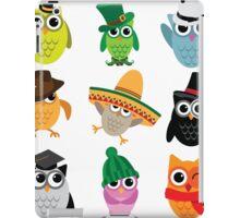 Cute cartoon owls wearing hats iPad Case/Skin