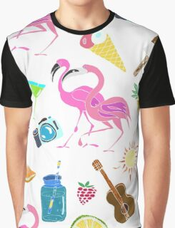 Hand drawn colorful  seamless pattern. Summertime. Graphic T-Shirt