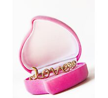 gold ring in a box heart Photographic Print