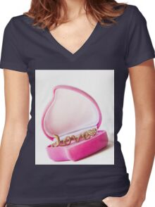 gold ring in a box heart Women's Fitted V-Neck T-Shirt