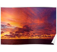 Caribbean Sea Clouds at Dusk (2) Poster
