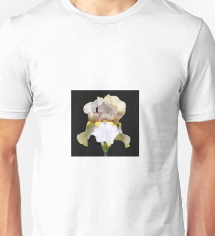 Flower Power - A beautiful beige bearded iris on a black background. Unisex T-Shirt
