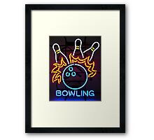Neon Bowling Sign Framed Print