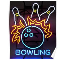 Neon Bowling Sign Poster