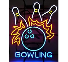Neon Bowling Sign Photographic Print