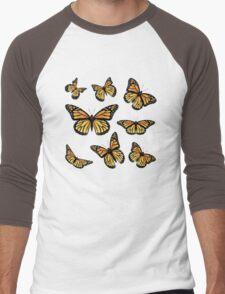 Orange Monarch Butterfly Men's Baseball ¾ T-Shirt