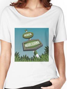 Retro Medical Marijuana Sign in marijuana field Women's Relaxed Fit T-Shirt