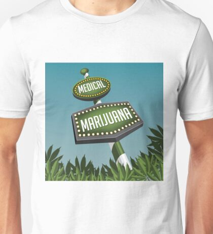 Retro Medical Marijuana Sign in marijuana field Unisex T-Shirt