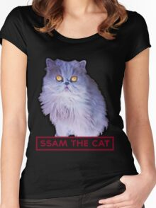 ssam the cat: 2016 [burgundy] Women's Fitted Scoop T-Shirt