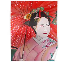 Geisha with Red Umbrella Poster