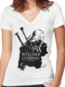 Witcher Is Coming Women's Fitted V-Neck T-Shirt