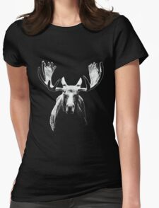 Bull moose white  Womens Fitted T-Shirt