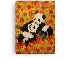 Panda Cubs in Orange Flowers Canvas Print