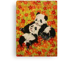 Panda Cubs in Orange Flowers Canvas Print