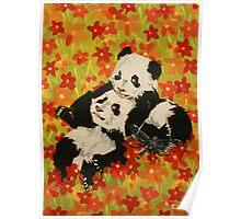 Panda Cubs in Orange Flowers Poster