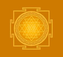 Glowing Sri Chakra Pillow - Gold by Kim  Lynch