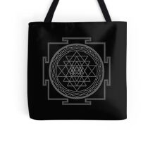 Glowing Sri Chakra Pillow - Black Tote Bag