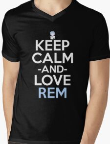 Keep Calm And Love Rem Anime Manga Shirt Mens V-Neck T-Shirt