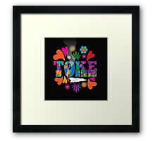 Sixties style mod pop art psychedelic colorful Toke marijuana design Framed Print