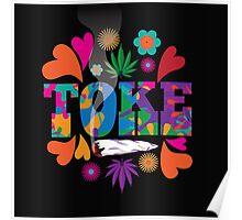Sixties style mod pop art psychedelic colorful Toke marijuana design Poster