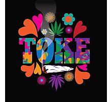 Sixties style mod pop art psychedelic colorful Toke marijuana design Photographic Print