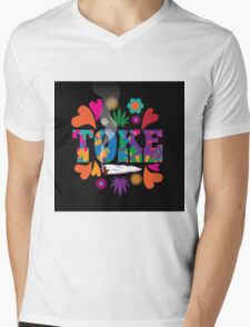 Sixties style mod pop art psychedelic colorful Toke marijuana design Mens V-Neck T-Shirt