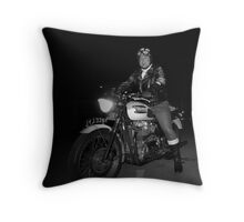 Vintage Motorcycle and Rider from the Past by Byron Croft Throw Pillow