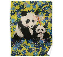 Mother and Cub in Blue Poster