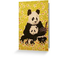 Mother and cub in White Flowers Greeting Card