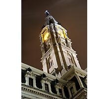 Philadelphia City Hall Clock Tower at Night Photographic Print