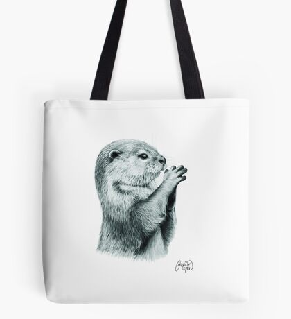 Otter Pencil Sketch Tote Bag