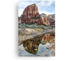 Angels Landing Reflected in Virgin River - Zion National Park Canvas Print