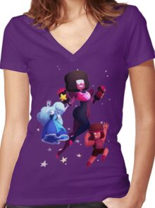 Garnet - Steven Universe Fanart, Sapphire, Ruby, Fusion Women's Fitted V-Neck T-Shirt