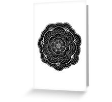 Black and White Abstract Lace Flower Greeting Card