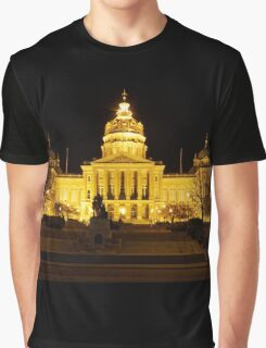 Iowa State Capitol Building Front (Night) Graphic T-Shirt