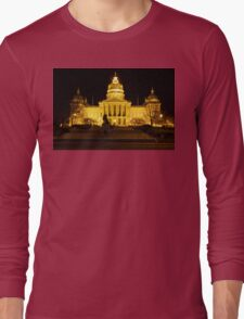 Iowa State Capitol Building Front (Night) Long Sleeve T-Shirt