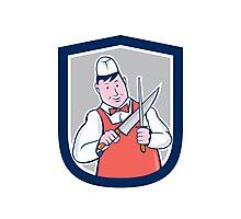 Butcher Sharpening Knife Cartoon Photographic Print