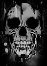 Cool Skull with Paint Drips - Black and White by Denis Marsili - DDTK