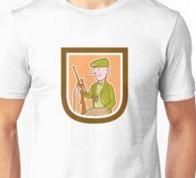 Hunter Holding Rifle Shield Cartoon Unisex T-Shirt