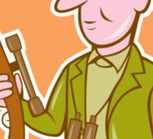 Hunter Holding Rifle Shield Cartoon Sticker