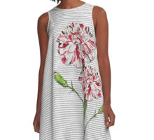 Candy Striped Carnation A-Line Dress