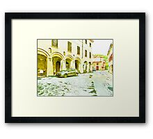 Fognano: foreshortening with street and arcade Framed Print