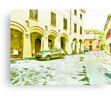 Fognano: foreshortening with street and arcade Canvas Print