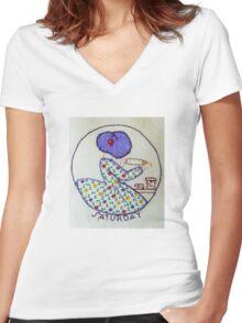 Thursday Purple Pie Baking Bonnet Lady Women's Fitted V-Neck T-Shirt