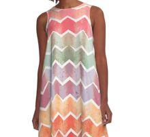 Corrugated Chevron Stripes - Gelati Colorway A-Line Dress