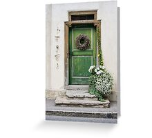Rustic Wooden Village Door - Austria Greeting Card