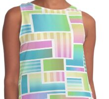 Abstract Pastel Color Blocks Contrast Tank