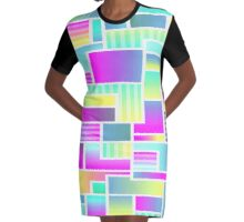 Abstract Neon Color Blocks Graphic T-Shirt Dress